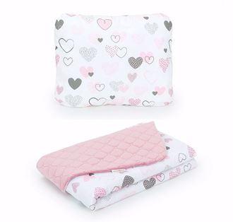 Obrázek z Dětská deka s polštářem Srdíčka Velvet 75x100 cm - Růžová - různé varianty