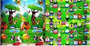 Obrázek Dětský oboustranný pěnový koberec - Zoo-stolní hra 200x180x1 cm
