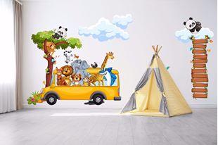 Obrázek Samolepka na zeď Veselý safari autobus