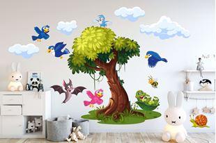 Obrázek Samolepka na zeď Veselí ptáčci