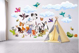 Obrázek Samolepka na zeď Hromada zvířátek