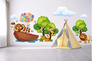 Obrázek Samolepka na zeď Oslava zvířátek na lodi
