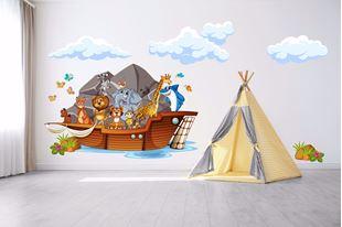 Obrázek Samolepka na zeď Velká loď se zvířátky