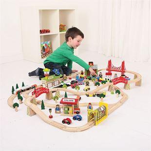 Obrázek Bigjigs Rail Dřevěná vláčkodráha doprava 125 dílů