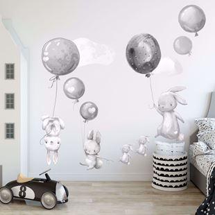 Obrázek Králíčci a balonky Šedá