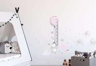 Obrázek Metr na stěnu - Králíček, hvězdičky, mráčky Růžová