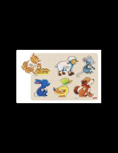 Obrázek Odkrývací dřevěné puzzle zvířátka - rodiče a děti