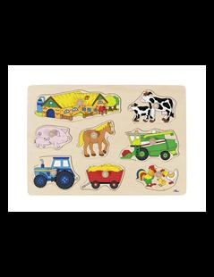 Obrázek Puzzle s dřevěnými úchytkami – Zvířata na statku