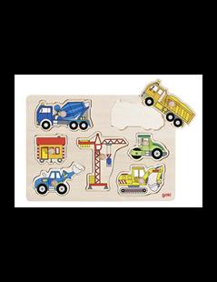 Obrázek Dřevěné puzzle - Stavební auta