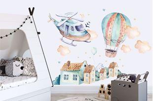 Obrázek Samolepka na zeď Vrtulník, balón a městečko