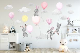 Obrázek Samolepka na zeď Malí králíčci a balónky Růžová