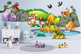 Obrázek Samolepka na zeď Safari zvířátka