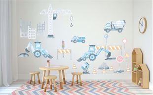 Obrázek Samolepka na zeď Stavební auta