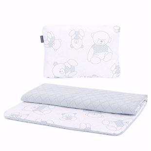 Obrázek Set deka s polštářkem do kočárku 55x75 cm Méďové