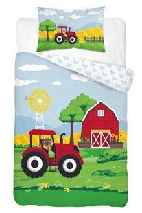 Obrázek Dětské povlečení Traktor - červený 135x100 cm