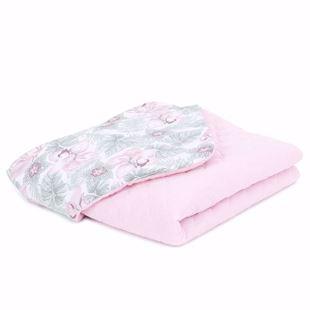 Obrázek Dětská prošívaná deka Květy v listech Mušelín PIK 75x100 cm Světle růžová