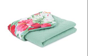 Obrázek Dětská prošívaná deka Barevné květy Mušelín PIK 75x100 cm Zelená