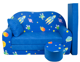 Obrázek Rozkládací dětská pohovka s bobkem a polštářkem Vesmír