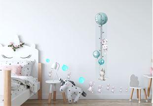 Obrázek Metr na stěnu - Králíček a balónky Modrá