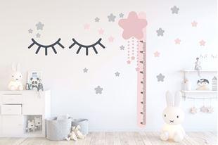 Obrázek Metr na stěnu - Očka a hvězdičky Růžová