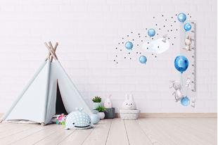 Obrázek Metr na stěnu - Králičci, balónky a hvězdičky Modrá