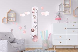 Obrázek Metr na stěnu - Králíčci a balónky Růžová