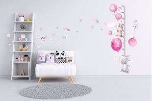 Obrázek Metr na stěnu - Králíčci, balónky a hvězdičky Růžová