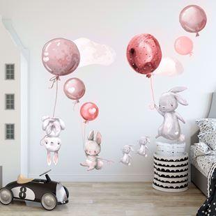 Obrázek Králíčci a balonky Růžová 2