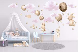 Obrázek Králíčci, balonky, mráčky a hvězdičky Zlatá