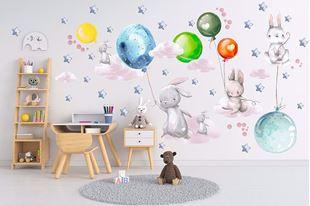 Obrázek Králíčci, balonky, mráčky a hvězdičky Barevná