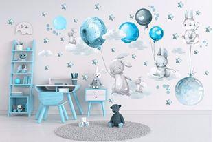 Obrázek Králíčci, balonky, mráčky a hvězdičky Modrá