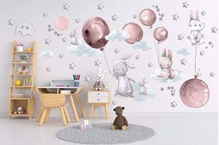 Obrázek Králíčci, balonky, mráčky a hvězdičky Růžová