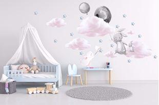 Obrázek Králíčci, balonky, mráčky a hvězdičky Šedá