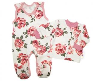 Obrázek 2-dílná sada, bavlněné dupačky s košilkou Růže, pudrová/ecru