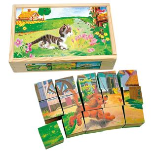 Obrázek Bino Dřevěné obrázkové kostky domácí zvířátka 15 dílů
