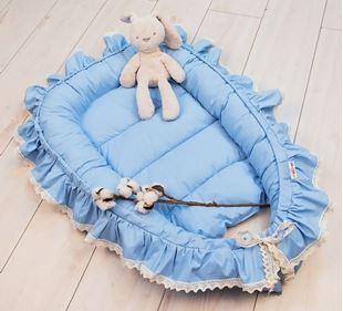 Obrázek Kojenecké hnízdečko, kokon Boho Style LUX, 60 x 90 cm - modré