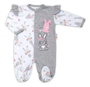 Obrázek Bavlněný kojenecký overal s volánky Cute Bunny - šedý