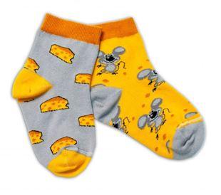 Obrázek Bavlněné veselé ponožky Myška a sýr - žlutá/šedá