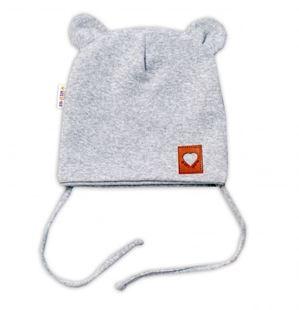 Obrázek Bavlněná dvouvrstvá čepice s oušky na zavazování TEDDY - šedý melírek