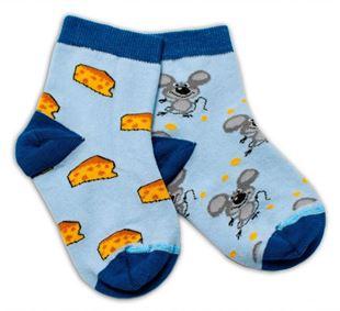 Obrázek Bavlněné veselé ponožky Myška a sýr - světle modré