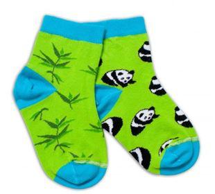 Obrázek Bavlněné veselé ponožky Panda - zelené
