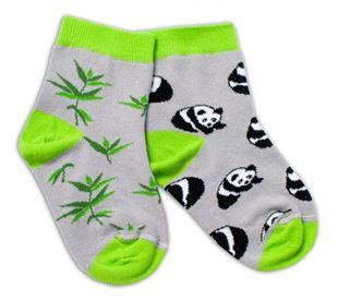 Obrázek Bavlněné veselé ponožky Panda - šedé