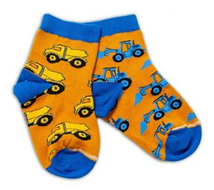 Obrázek Bavlněné veselé ponožky Stavební stroje - hořčicové