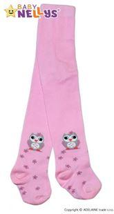 Obrázek Bavlněné punčocháče - Sovička růžové