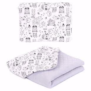 Obrázek Dětská prošívaná deka + polštář Lesní Zvířátka Mušelín PIK 75x100 cm Světle šedá