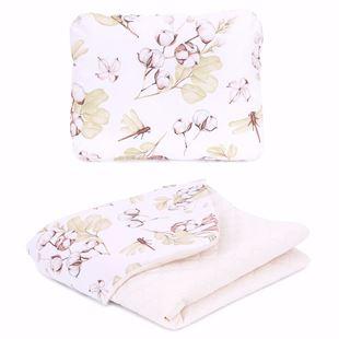Obrázek Dětská deka s polštářem Vážky a květy Velvet PIK 75x100 cm