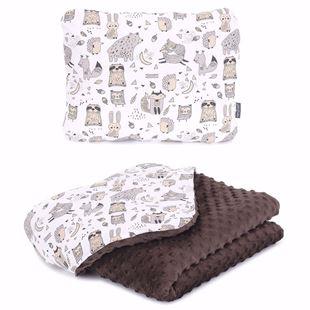 Obrázek Dětská deka + polštář Lesní Zvířátka Minky 75x100 cm Hnědá