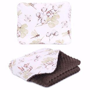 Obrázek Dětská deka + polštář Vážky a květy 75x100 cm Hnědá