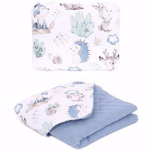 Obrázek Dětská prošívaná deka + polštář Ježečci a Srnky Mušelín PIK 75x100 cm