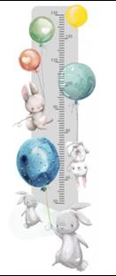 Obrázek Metr na stěnu - Králíčci a balónky